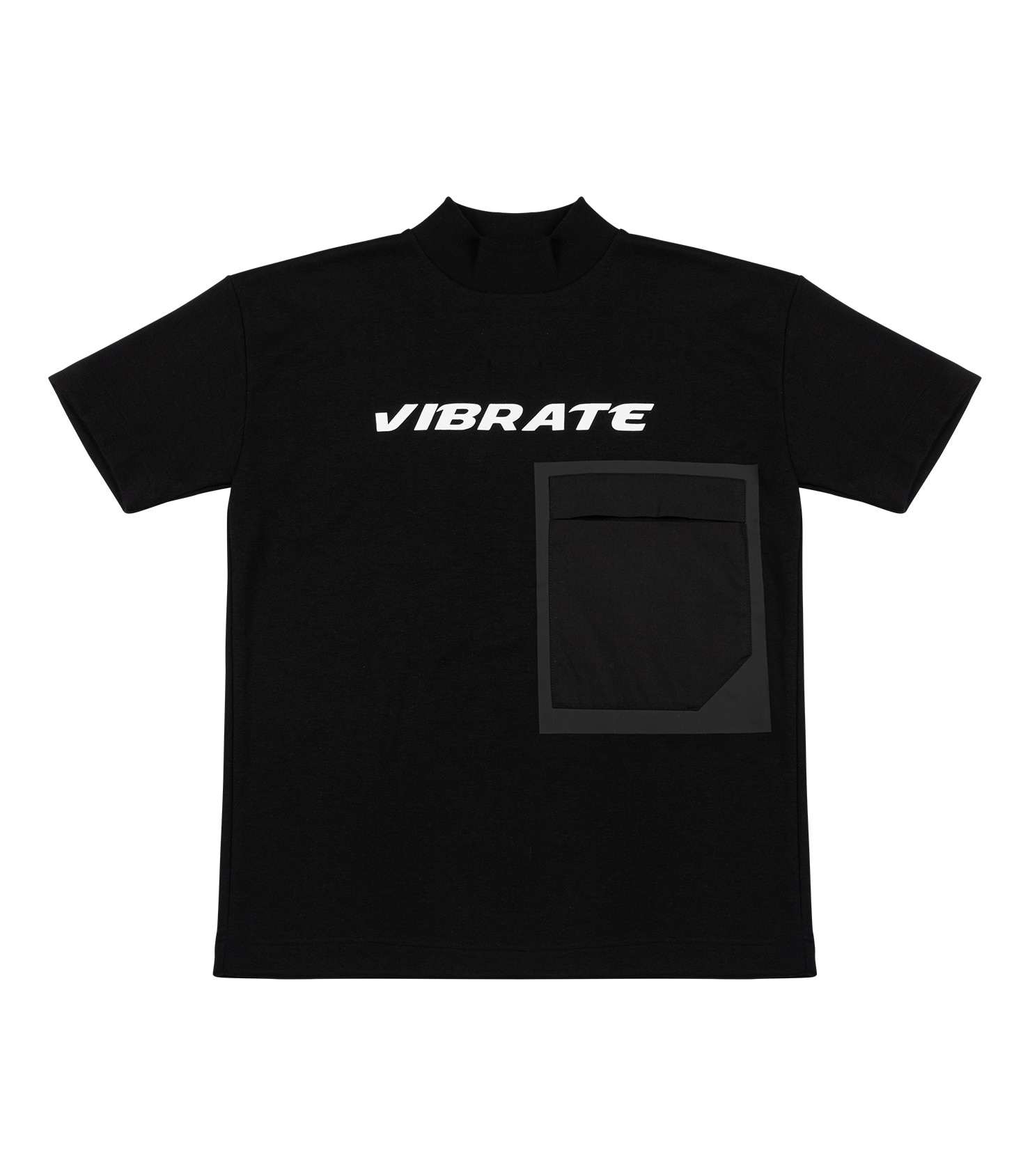 BIG POCKET LOGO MOCK TURTLENECK T-SHIRT (BLACK)
