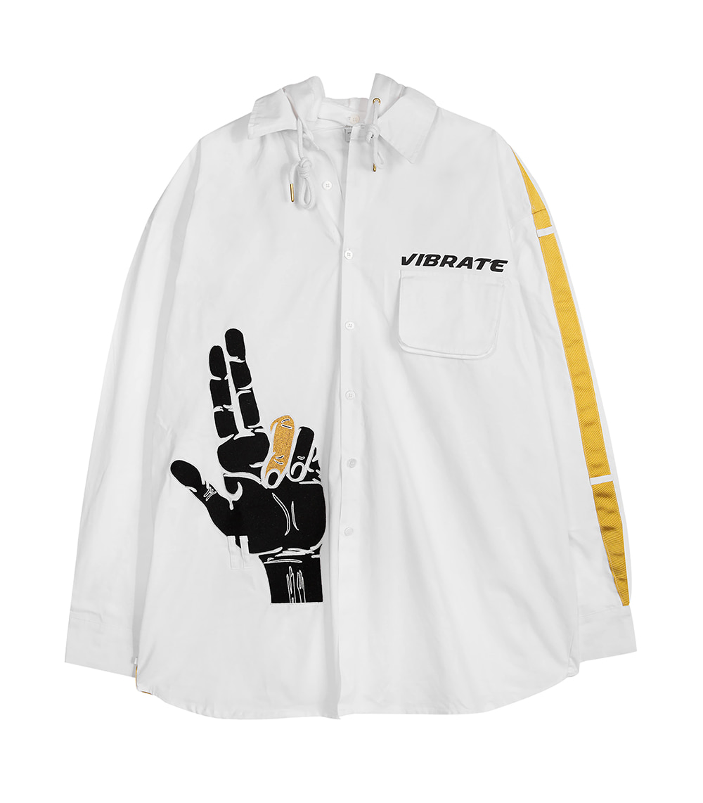 GOLDLINE SIDE FINGER HOODIE JACKET (WHITE)