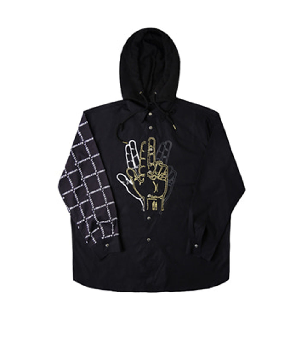 GOLDLINE SHIRTS HOODIE JACKET NO.1 (BLACK)